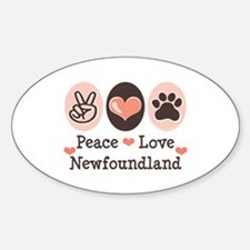 Peace Love Newfoundland Oval Decal