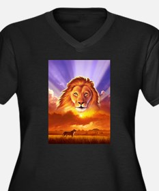 Lion King Women's Plus Size V-Neck Dark T-Shirt