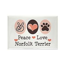 Peace Love Norfolk Terrier Rectangle Magnet (100 p