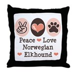 Peace Love Norwegian Elkhound Throw Pillow