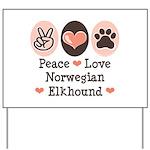 Peace Love Norwegian Elkhound Yard Sign