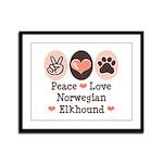 Peace Love Norwegian Elkhound Framed Panel Print