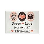 Peace Love Norwegian Elkhound Rectangle Magnet (10