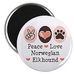 Peace Love Norwegian Elkhound Magnet