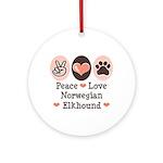 Peace Love Norwegian Elkhound Ornament (Round)