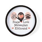 Peace Love Norwegian Elkhound Wall Clock