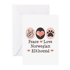 Peace Love Norwegian Elkhound Greeting Cards (Pk o