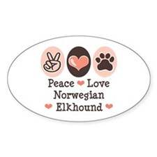 Peace Love Norwegian Elkhound Oval Decal