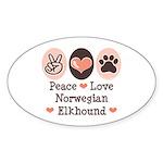 Peace Love Norwegian Elkhound Oval Sticker