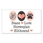Peace Love Norwegian Elkhound Sticker (Rectangular