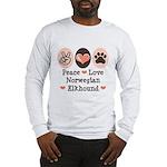Peace Love Norwegian Elkhound Long Sleeve T-Shirt