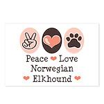 Peace Love Norwegian Elkhound Postcards (Package o