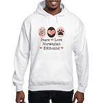 Peace Love Norwegian Elkhound Hooded Sweatshirt