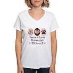 Peace Love Norwegian Elkhound Women's V-Neck T-Shi