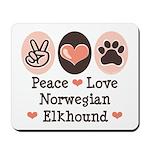 Peace Love Norwegian Elkhound Mousepad