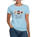 Peace Love Norwegian Elkhound Women's Light T-Shir
