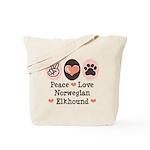 Peace Love Norwegian Elkhound Tote Bag