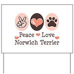 Peace Love Norwich Terrier Yard Sign