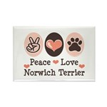 Peace Love Norwich Terrier Rectangle Magnet (10 pa