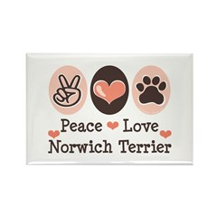 Peace Love Norwich Terrier Rectangle Magnet (100 p