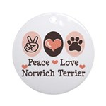 Peace Love Norwich Terrier Ornament (Round)