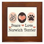 Peace Love Norwich Terrier Framed Tile