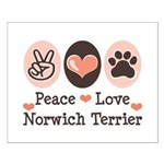 Peace Love Norwich Terrier Small Poster