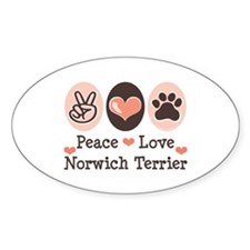 Peace Love Norwich Terrier Oval Decal