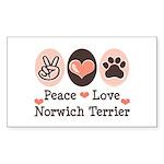 Peace Love Norwich Terrier Rectangle Sticker