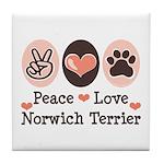 Peace Love Norwich Terrier Tile Coaster