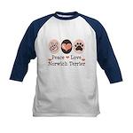 Peace Love Norwich Terrier Kids Baseball Jersey