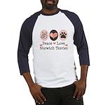 Peace Love Norwich Terrier Baseball Jersey