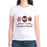 Peace Love Norwich Terrier Jr. Ringer T-Shirt