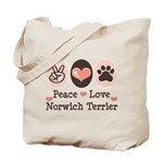 Peace Love Norwich Terrier Tote Bag