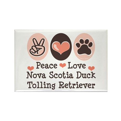 Peace Love Toller Rectangle Magnet (10 pack)