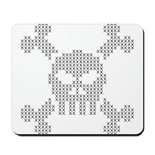 Cross Stitch Pixel Skull Mousepad