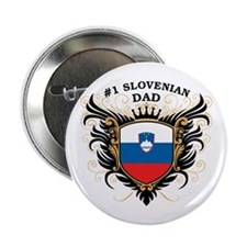 """Number One Slovenian Dad 2.25"""" Button"""