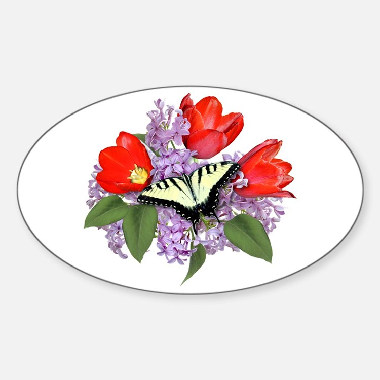 Yellow Swallowtail Butterfly Oval Decal
