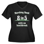 Marching 8to5 Womens Plus Size V-Neck Dark T-Shirt