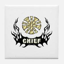 Fire Chief Tattoo Flames Tile Coaster