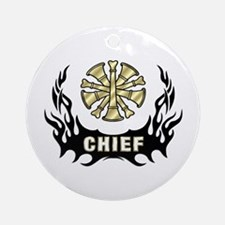 Fire Chief Tattoo Flames Ornament (Round)