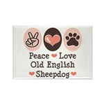 Peace Love Old English Sheepdog Rectangle Magnet (