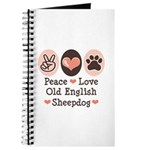 Peace Love Old English Sheepdog Journal