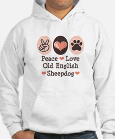Peace Love Old English Sheepdog Hoodie
