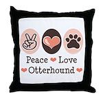 Peace Love Otterhound Throw Pillow