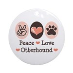 Peace Love Otterhound Ornament (Round)