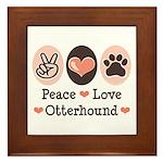 Peace Love Otterhound Framed Tile