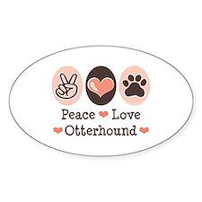 Peace Love Otterhound Oval Decal