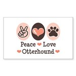 Peace Love Otterhound Rectangle Sticker