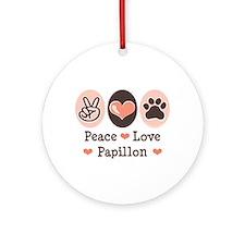 Peace Love Papillon Ornament (Round)
